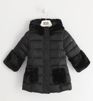 Cappotto bambina in tessuto impermeabilizzato con applicazioni in ecopelliccia ido NERO-0658