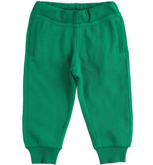 Pratico pantalone in felpa garzata ido VERDE-4657