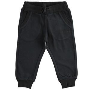 Pantalone in jersey pesante con tasche e ricamo ido NERO-0658