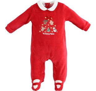 Tutina neonato con ricamo con elementi natalizi ido ROSSO-2253
