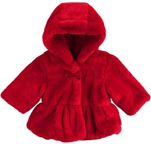 Giubbotto neonata in ecopelliccia con zip nascosta e fiocchino ido ROSSO-2253