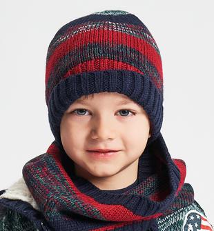 Cappello modello cuffia effetto riga vanisé ido BLU-ROSSO-8031