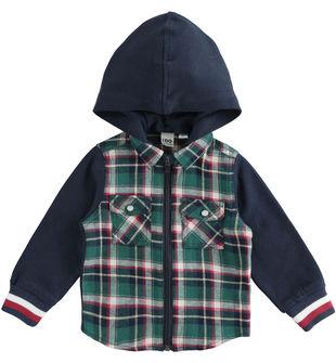Camicia in flanella 100% cotone a quadri con cappuccio ido VERDE-4726