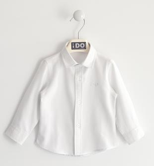 Camicia tinto filo in cotone effetto mèlange ido BIANCO-0113