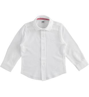 Camicia in piquet di cotone ido BIANCO-0113