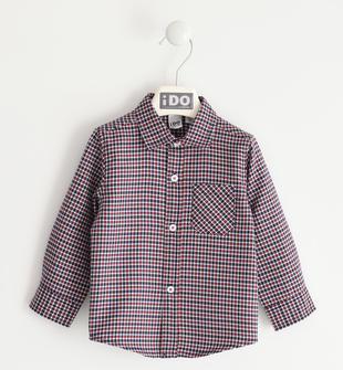 Camicia bimbo misto cotone tinto filo motivo quadri ido NAVY-3885