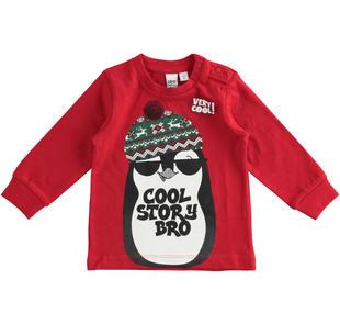 Maglietta 100% cotone con pinguino ido ROSSO-2253