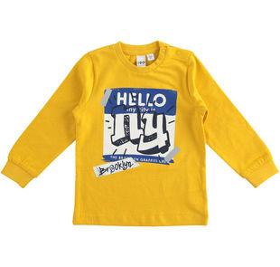 Maglietta in jersey cotone dedicata al mondo dello skate ido GIALLO-1615