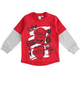 T-shirt in jersey di cotone dedicata al mondo dello skate ido ROSSO-2253