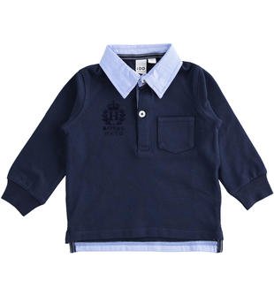 Polo in piquet con colletto effetto camicia ido NAVY-3885