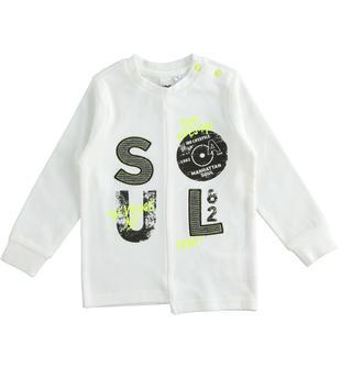 T-shirt 100% cotone con taglio asimmetrico ido PANNA-0112