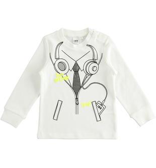 Simpatica t-shirt bimbo in interlock 100% cotone con stampa ido PANNA-0112