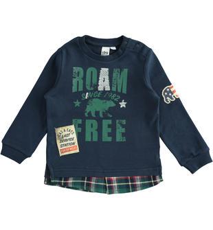 T-shirt 100% cotone con effetto camicia scozzese ido NAVY-3885