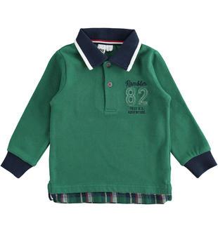 Polo in jersey pesante con inserto a quadri ido VERDE-4726