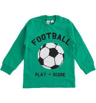 Comoda t-shirt bimbo 100% cotone con pailettes a ricamo gira e brilla ido VERDE-4523