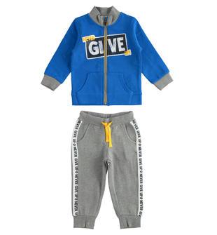 Tuta jogging in felpa garzata con stampa gommata ido BLUETTE-GRIGIO-8012