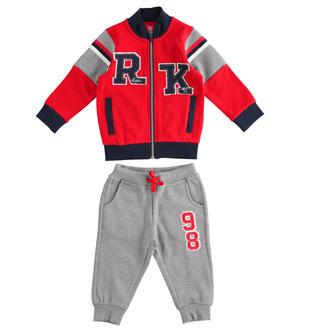 Tuta jogging per bambino in felpa misto cotone garzata ido ROSSO-GRIGIO-8015