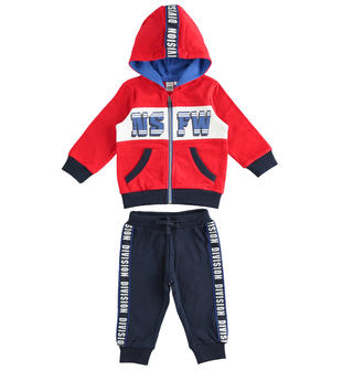 Tuta jogging bambino misto cotone con felpa e cappuccio ido ROSSO-BLU-8010