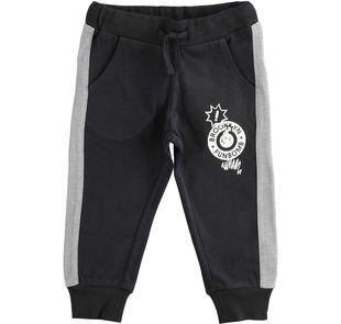 Pantalone in jersey pesante con polsini ido NERO-0658
