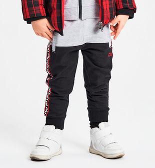 Pantalone in felpa stretch con grois gran stampato ido NERO-0658