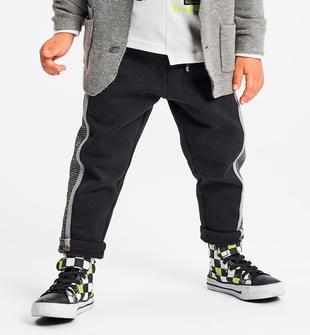 Pantalone in felpa garzata con inserto pied de poule ido NERO-0658