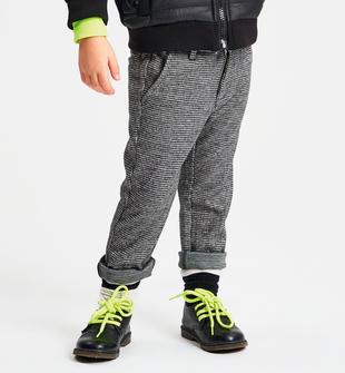 Pantalone in maglia elasticizzata jacquard, con micro pied de poule ido NERO-0658