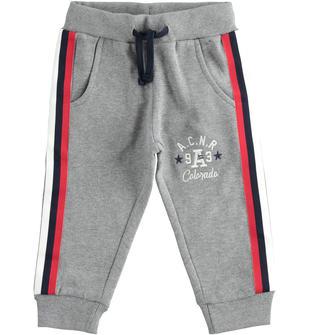 Pantalone in felpa con bande laterali ido GRIGIO MELANGE-8970