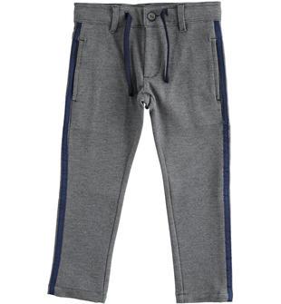 Pantalone in maglia effetto twill con coulisse in vita ido GRIGIO-0567
