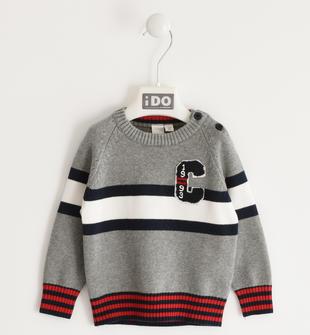 Maglia tricot bambino in filato misto cotone con motivo bande ido GRIGIO MELANGE-8970