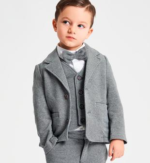 Elegante giacca bambino in cotone stretch stampata micro pois ido GRIGIO-BLU-6LC7