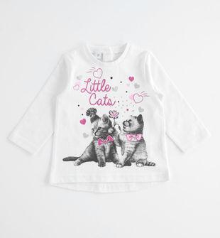 Maglietta girocollo Little Cats ido BIANCO-0113