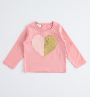 Comoda maglia girocollo in cotone con cuore di pailettes reversibili ido PINK-2525