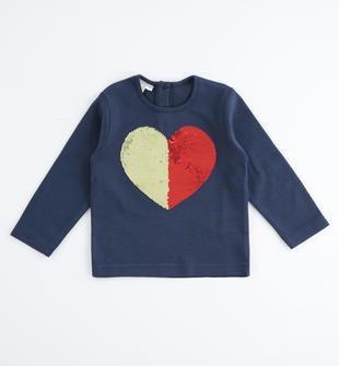 Comoda maglia girocollo in cotone con cuore di pailettes reversibili ido NAVY-3854