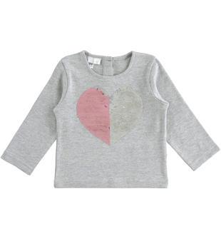 Comoda maglia girocollo in cotone con cuore di pailettes reversibili ido GRIGIO MELANGE-8992