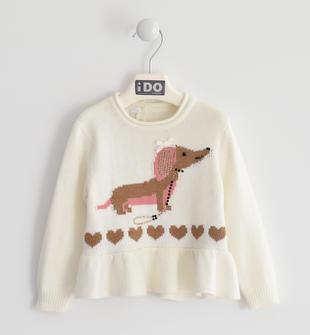 Maglia girocollo bambina in tricot misto cotone con cagnolino ido PANNA-0112