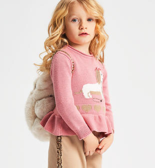 Maglia girocollo bambina in tricot misto cotone con cagnolino ido PINK-2525