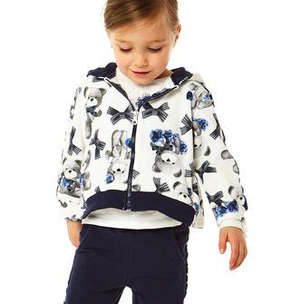 Tuta jogging bambina in cotone elasticizzato con felpa con cappuccio ido PANNA-BLU-8132