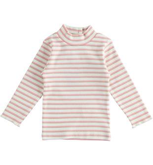 Maglia bambina a manica lunga in cotone tinto filo rigato con inserto lurex ido PANNA ROSA-8146