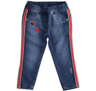 Pantalone bambina in morbido denim stretch tutto elastico ido STONE WASHED-7450