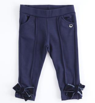 Elegante pantalone bambina in punto milano stretch ido NAVY-3854