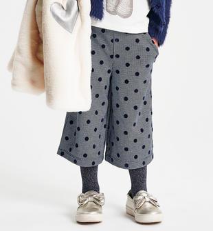 Pantalone modello gaucho bambina tessuto jacquard pied de poule ido PANNA-BLU-6LC8