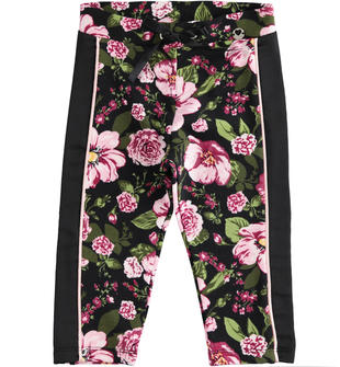 Leggings in felpina garzata fantasia floreale ido ROSA-NERO-6LG9