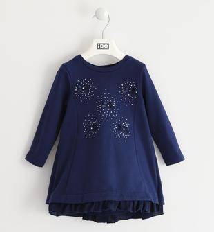 Vestito bambina in felpa di cotone stretch e sottogonna in voile plissettato ido NAVY-3854