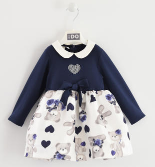 Abito elegante bambina con gonna tessuto jacquard all over ido BLU-PANNA-8134