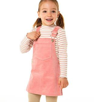 Gonna salopette bambina in velluto millerighe di cotone ido PINK-2525
