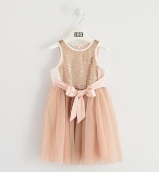 Grazioso abito smanicato con corpetto di paillettes ido PANNA-BEIGE-8138