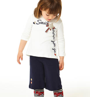 Completo due pezzi bambina in cotone con pantalone modello gaucho ido PANNA-BLU-8132