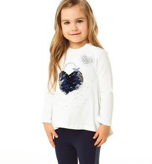 Completo due pezzi bambina in cotone con leggings con bande lurex ido PANNA-BLU-8132