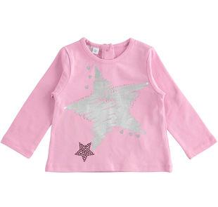 Maglietta girocollo con stella laminata ido CICLAMINO-2757
