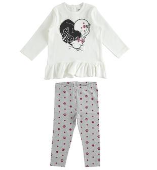 Completo iDO maxi maglia con gattini e leggings ido PANNA-GRIGIO-8131